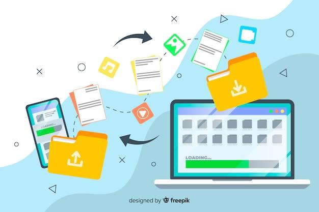 Bestanden overbrengen concept voor bestemmingspagina websjabloon