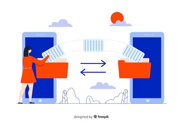 Bestanden overbrengen concept voor bestemmingspagina