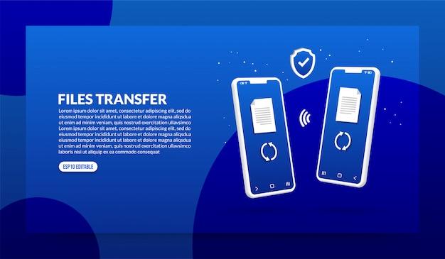 Bestanden overdracht concept met smartphone