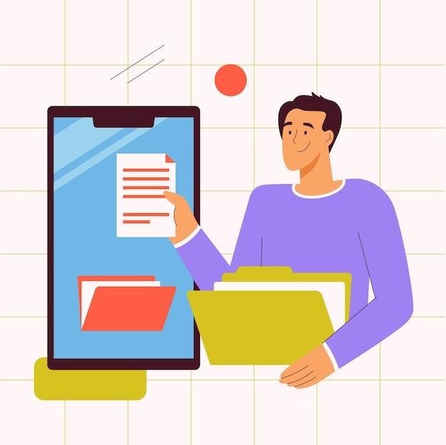 Bestandsbeheer applicatie concept man met document