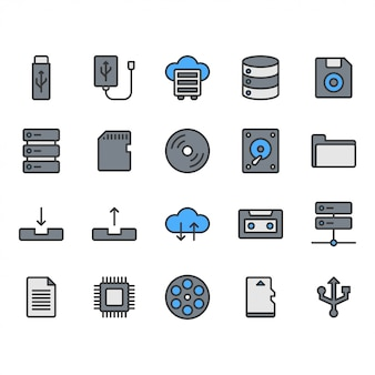 Bestandsopslag icon set