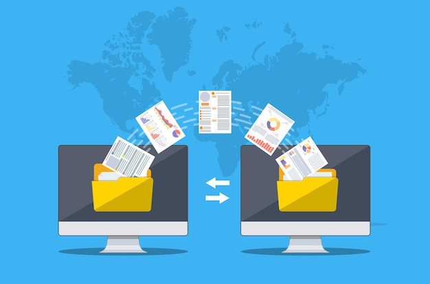 Bestandsoverdracht. twee computers met mappen op het scherm en overgedragen documenten. bestanden kopiëren, gegevensuitwisseling, back-up, pc-migratie, concepten voor het delen van bestanden.