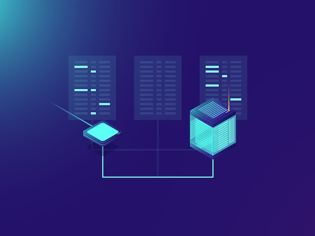 Bestandsoverdrachtproces, verwerken van big data, serverruimte, datacenter