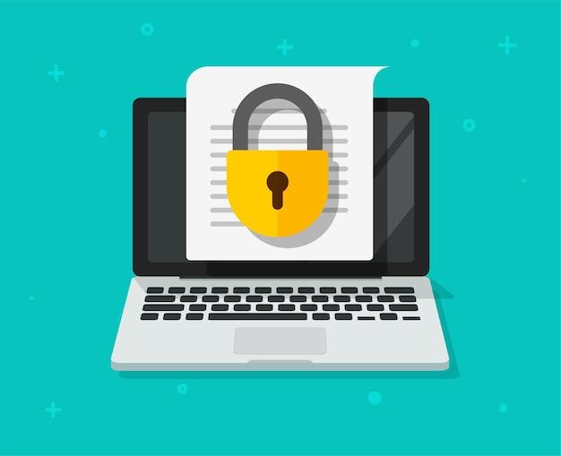 Bestandstoegang veilig tot vertrouwelijk document online op laptop computer pc vector platte pictogram