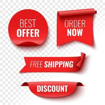 Beste aanbieding bestel nu gratis verzending en korting verkoop banners rode linten tags en stickers vectorillustratie