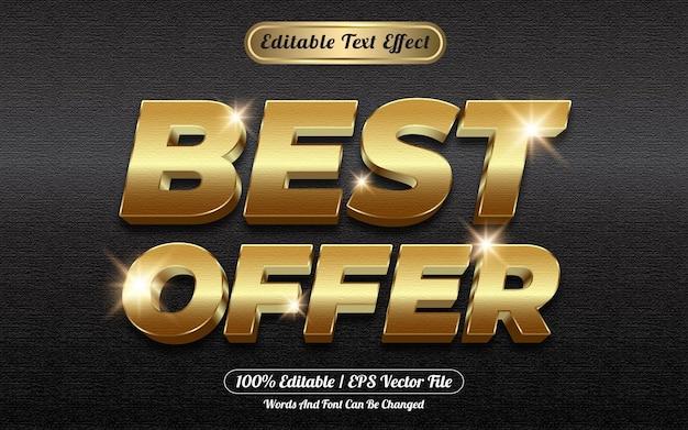 Beste aanbieding gouden 3d bewerkbare teksteffect stijlsjabloon