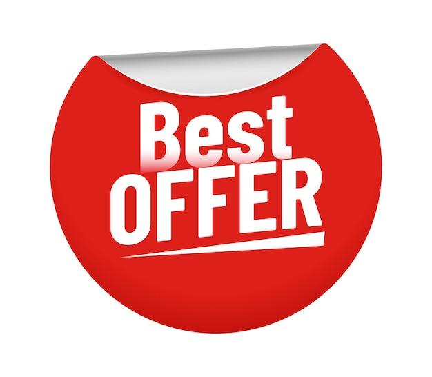 Beste aanbieding sticker. rode badge met gebogen rand en kortingsprijzen. kleverig cirkelelement voor promotie en reclame, verkoopprijzen voor winkel of winkel geïsoleerde symbool vectorillustratie