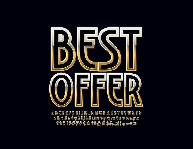 Beste aanbieding teken voor bedrijf, marketing, advertentie. luxe gouden alfabet. glanzend lettertype