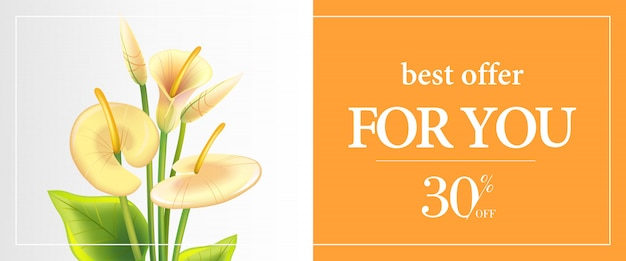 Beste aanbod voor u, dertig procent korting op bannersjabloon met witte calla lelies