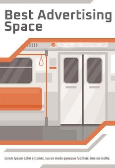 Beste advertentieruimte poster sjabloon. commercieel flyerontwerp met semi-platte afbeelding. vector cartoon promo kaart. ondergronds openbaar vervoer. metro trein ruimte reclame uitnodiging