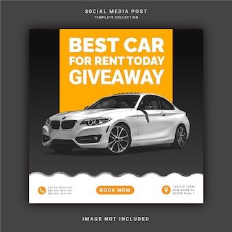 Beste autoverhuur voor vandaag giveaway instagram-postbanner social media-postsjabloon