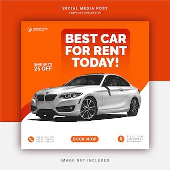 Beste autoverhuur voor vandaag instagram banner social media post-sjabloon