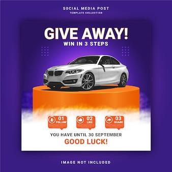 Beste autoverhuur-weggeefactie win het drie stappen instagram-postbanner social media-postsjabloon