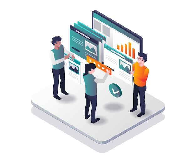 Beste beoordeling websjabloon in isometrisch ontwerp