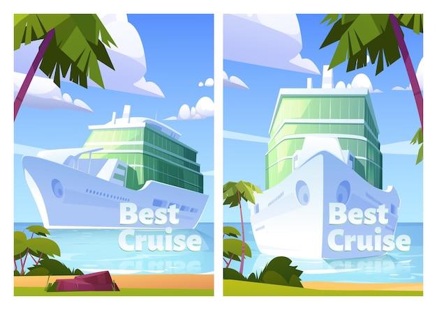 Beste cruiseposters met passagiersschip in de oceaan