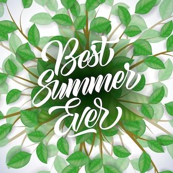 651c44681ddd1b Beste de zomer ooit seizoengebonden affiche met boomtakken en bladeren op  witte achtergrond