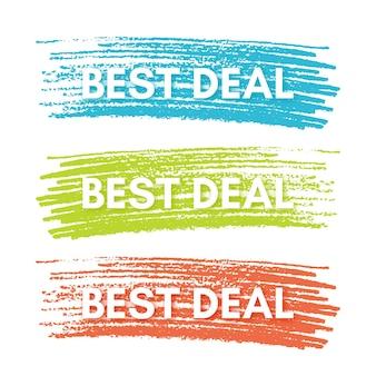 Beste dealbanner. set van drie verkoopbanners op de kleurrijk geschilderde plekken. vector illustratie