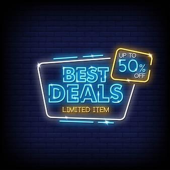 Beste deals neontekens stijltekst