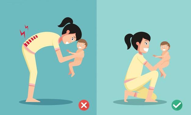 Beste en slechtste posities voor het houden van kleine baby