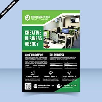 Beste groene zwarte creatieve bedrijfsbureau flyer sjabloonontwerp