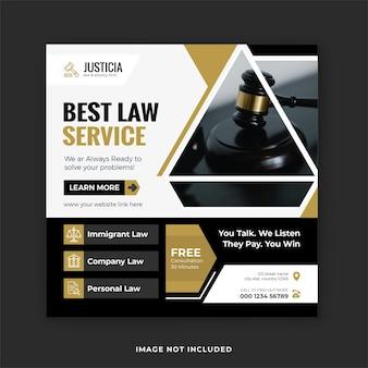 Beste juridische service en juridische consultatie social media post en instagram banner