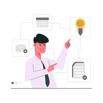 Beste kantoormedewerker karakter illustratie