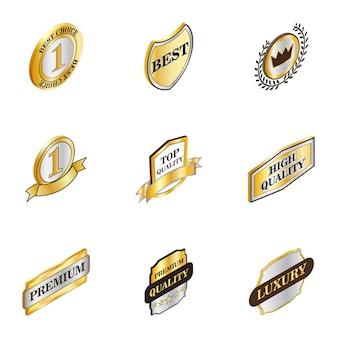 Beste keuze banner iconen set, isometrische 3d-stijl