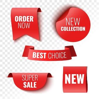 Beste keuze bestel nu nieuwe collectie en superverkoopbanners rode linten, tags en stickers vectorillustratie