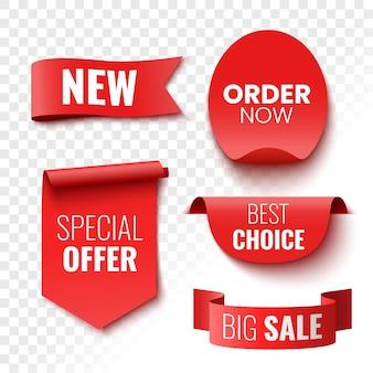 Beste keuze bestel nu speciale aanbieding nieuwe en grote verkoopbanners rode linten, tags en stickers vectorillustratie