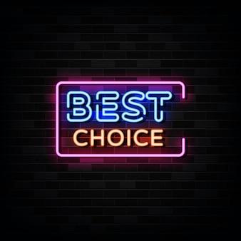 Beste keuze neonreclames. sjabloon neon stijl