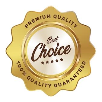Beste keuze vijf sterren badge goud zilver metallic luxe logo