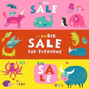 Beste kinderen alfabetten abc boeken leerhulpmiddelen 3 kleurrijke horizontale verkoop reclamebanners geplaatst geïsoleerd