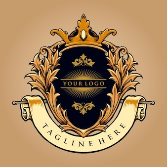 Beste king badge logo luxury company vectorillustraties voor uw werk logo, mascotte merchandise t-shirt, stickers en labelontwerpen, poster, wenskaarten reclame bedrijf of merken.