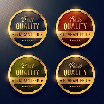 Beste kwaliteit gegarandeerde premium gouden etiket en badges vector design
