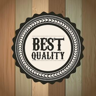 Beste kwaliteit over houten achtergrond vectorillustratie