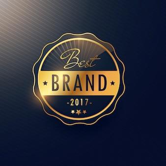 Beste merk gouden badge en label vector design