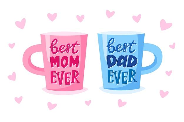 Beste moeder ooit en beste vader ooit belettering op kopjes present concept voor ouders