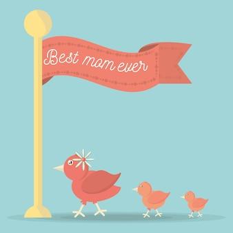 Beste moeder ooit vlag lint schattige vogel familie