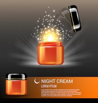 Beste nachtcrèmeproducten voor huidverzorging met advertentiesjabloon voor wonderlicht