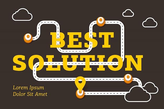 Beste oplossing bedrijfsconcept met kronkelende weg