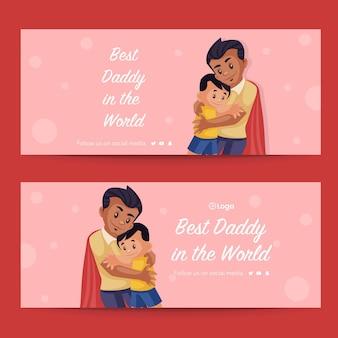 Beste papa ter wereld bannerontwerp in cartoonstijl