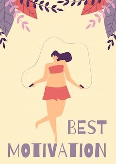 Beste positieve motivatie vrouw platte cartoon kaart
