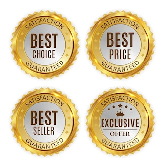 Beste prijs, verkoper, keuze en exclusief aanbod gouden glanzende badge