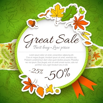 Beste prijssamenstelling of banner voor winkel over herfstuitverkoop en geweldige verkoopkop