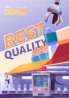 Beste productkwaliteit cartoon advertentie poster.