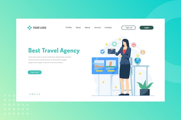 Beste reisbureauillustratie voor reizend concept op bestemmingspagina