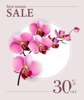 Beste seizoensuitverkoop, dertig procent korting op poster met roze bloemen en witte cirkel.
