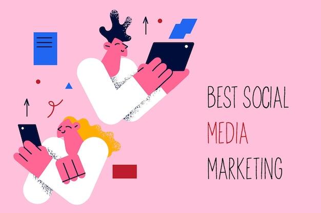 Beste sociale media marketing bedrijfsconcept
