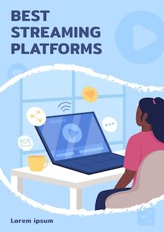 Beste streaming platforms poster platte vector sjabloon. educatief filmpje. brochure, boekje één pagina conceptontwerp met stripfiguren. flyer voor online leerdiensten, folder met kopieerruimte