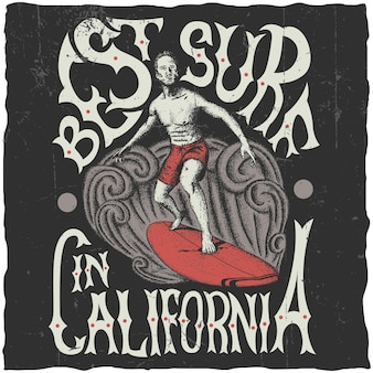 Beste surfen in californië poster met surfer aan boord van illustratie